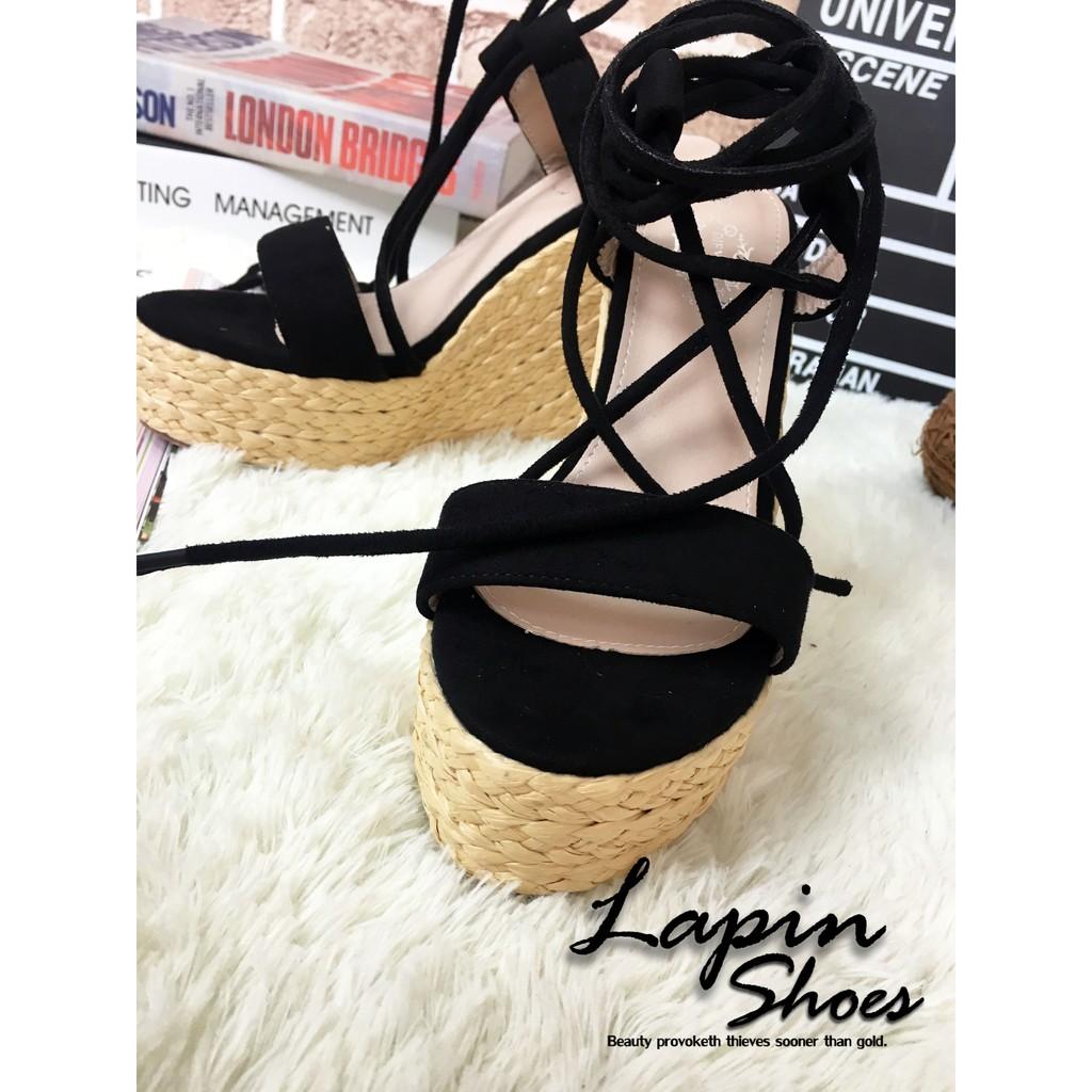 LapinShoes 女鞋麂皮絨料交叉繩綁踝麻編水台楔型涼鞋
