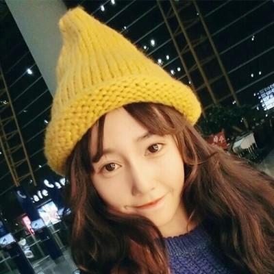 哈尼實拍韓國尖尖毛線帽針織帽毛帽粗針織捲邊精靈帽L021