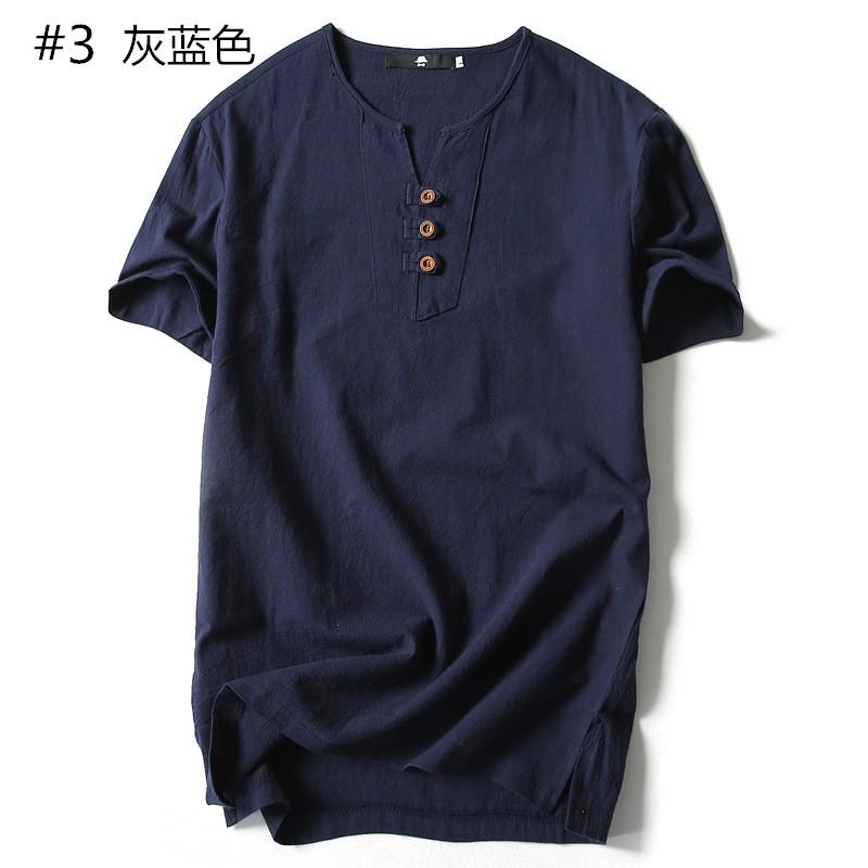日系原創亞麻青年V 領紐扣裝潢休閒棉麻短袖T 恤潮
