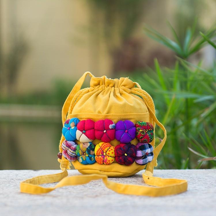民族風包包 特色單肩可愛南瓜包立體花朵迷你女包斜挎包
