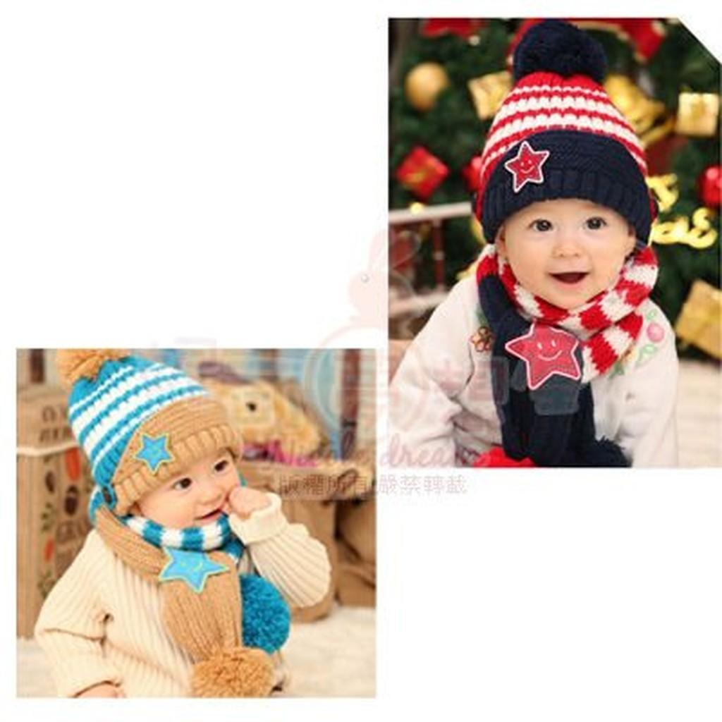 兒童笑臉針織毛線圍巾毛帽套裝組紅色藍色