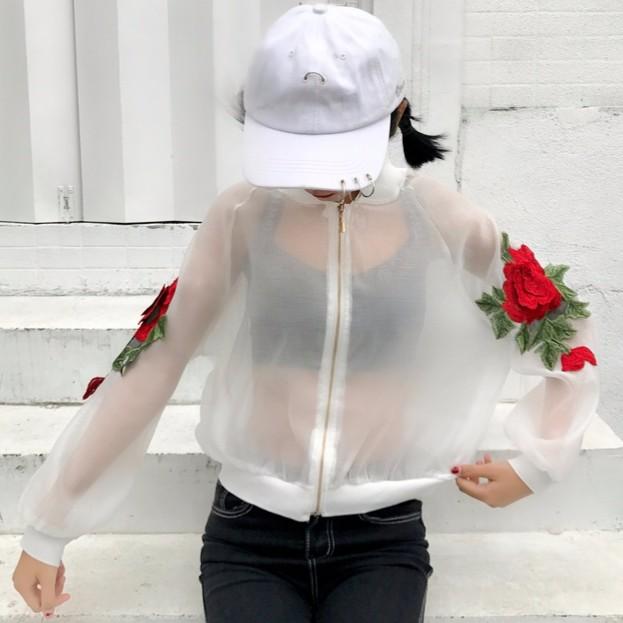 !百搭薄款歐根紗玫瑰花刺繡防曬衣棒球服