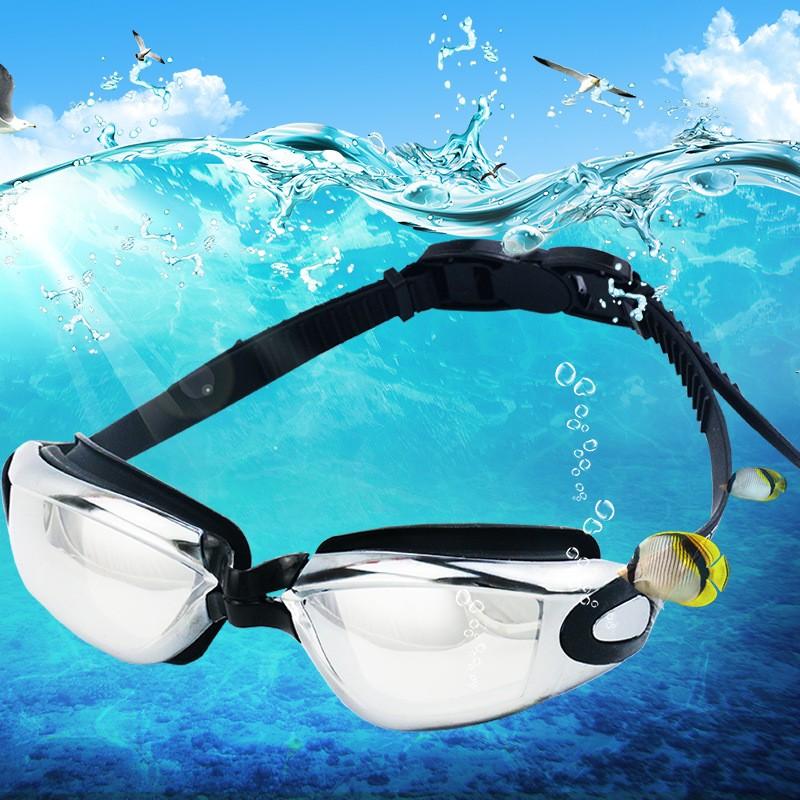 戶外游泳用品成人高清潛水游泳鏡炫彩電鍍防霧矽膠泳鏡