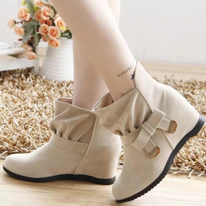 【貝莉潮流】 短靴女秋 內增高女鞋馬丁靴英倫風學生女靴子單靴雪靴裸靴