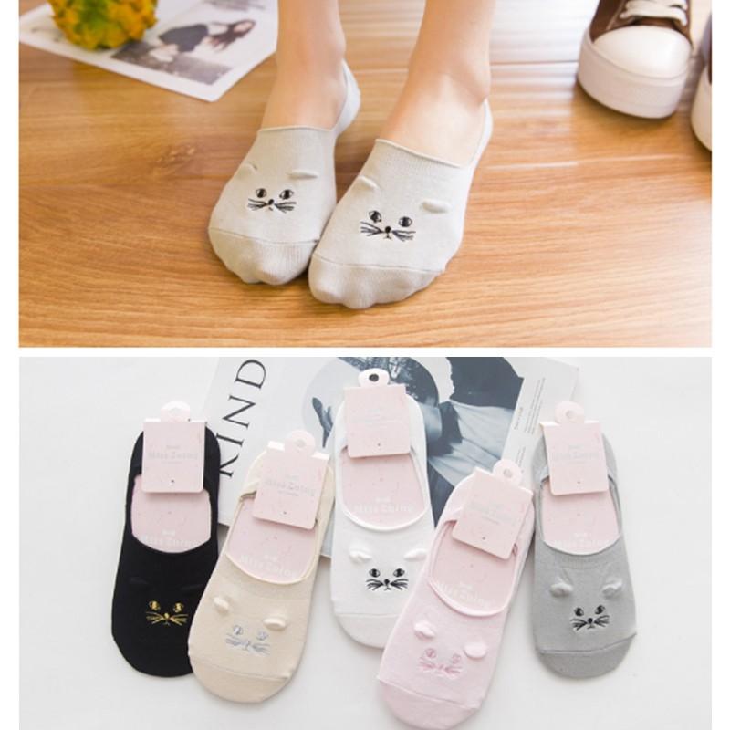 5 雙只要130 元 日系清新純棉立體貓咪刺繡防臭船襪短襪隱形襪 襪子女