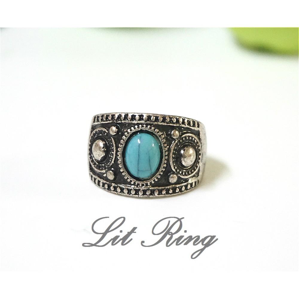 古銀 綠松石戒指~復古仿舊古典騎士圓形雕刻花紋湖水綠蛋面民族風戒指飾品首飾~Lit Rin