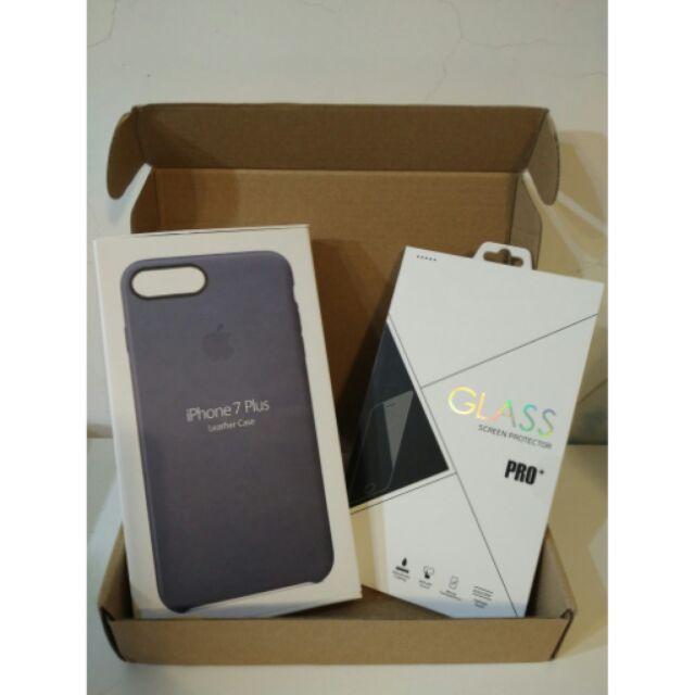 Iphone7plus 皮革保護套送玻璃保護貼模