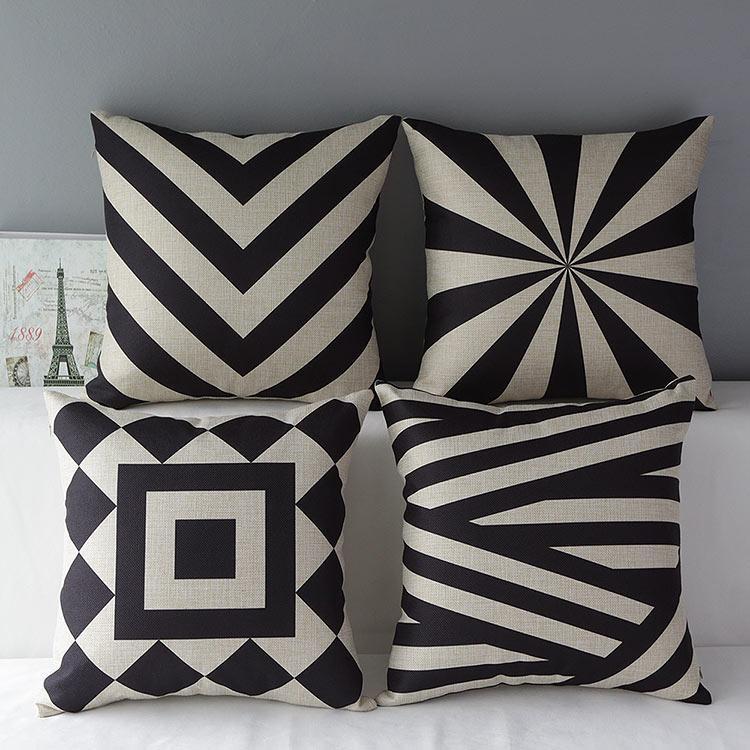 簡約 黑白低調幾何線條編織菱形厚棉麻抱枕抱枕套不含枕芯枕心靠枕靠墊枕頭~幸福佳家
