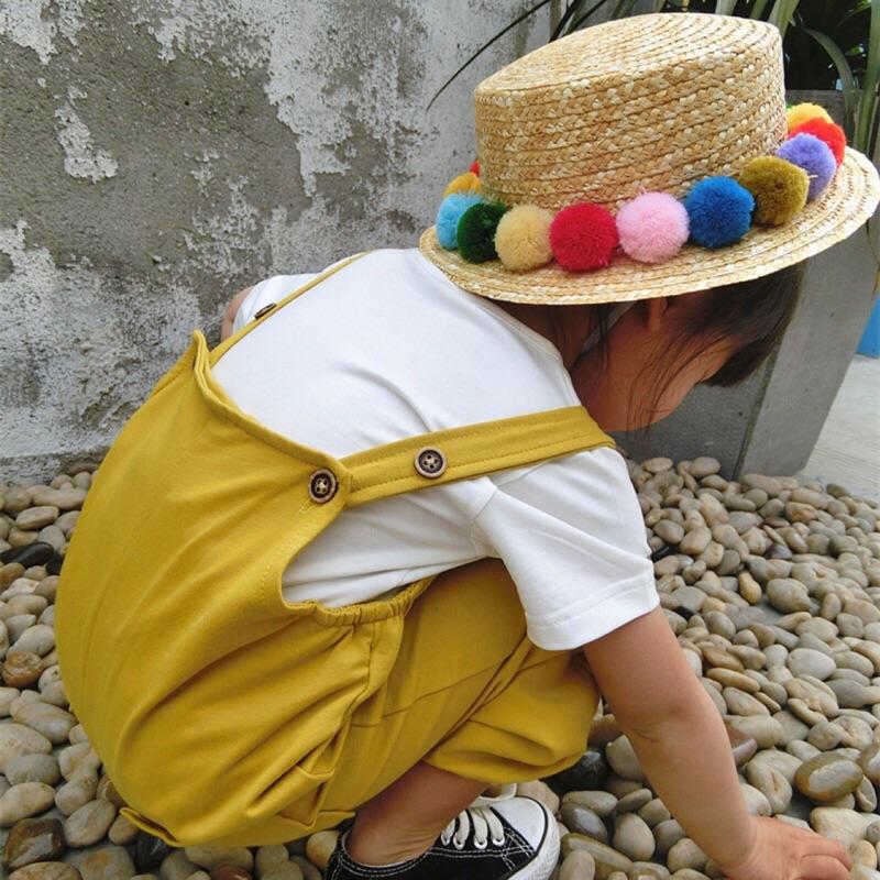 蓁誠 女童女寶兒童寶寶小童可愛毛球編織草帽遮陽帽盆帽彩色親子帽