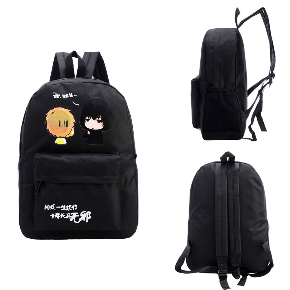 包包夏學院風帆布女包卡通動漫雙肩包女 書包中學生背包女包黑色