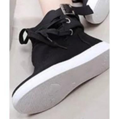 121 155 厚底帆布鞋女高幫休閒板鞋皮帶扣鬆糕單鞋學生黑色平底鞋38 黑色