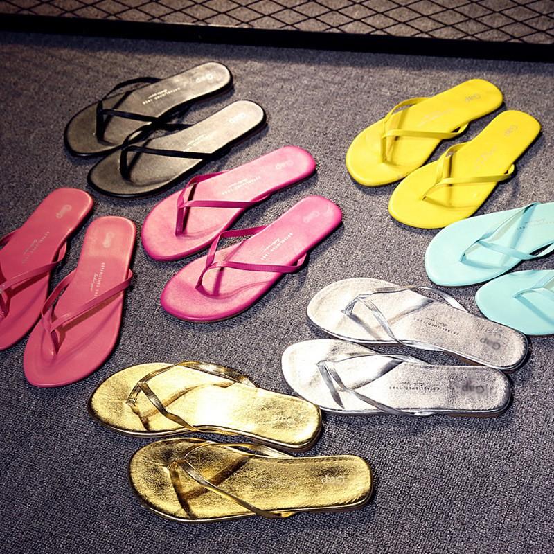 夏gap 糖果色彩涼拖鞋外貿沙灘鞋簡約純色女人字拖平底防滑