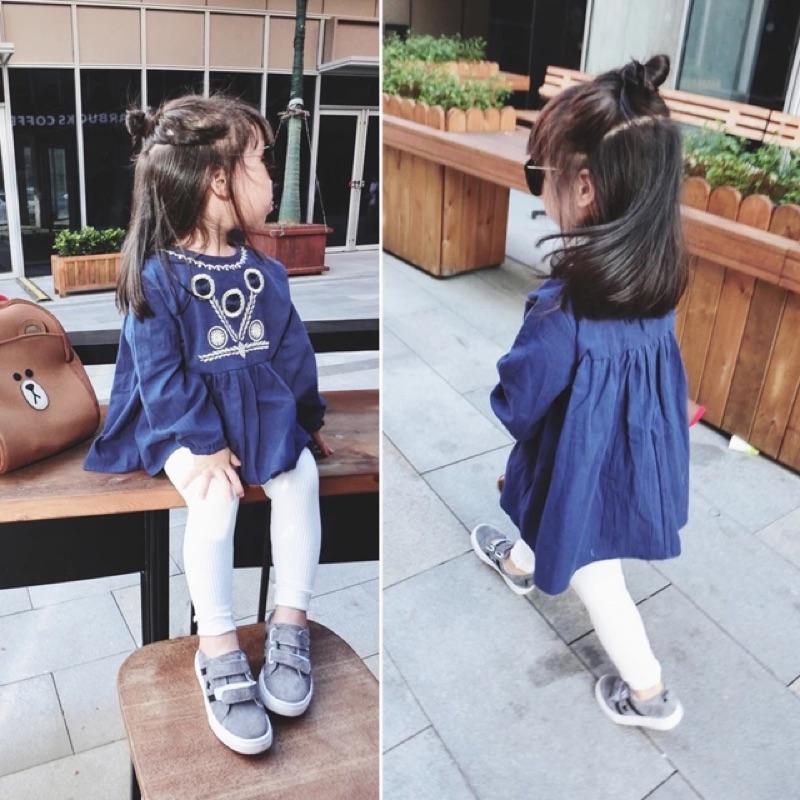 女童女寶兒童寶寶民族風花邊刺繡長袖圓領高腰娃娃衫連身裙長版上衣