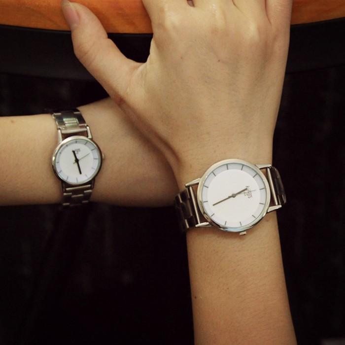 簡約防水鋼帶男士手錶女錶韓國潮流女士學生超薄鋼帶情侶手錶一對