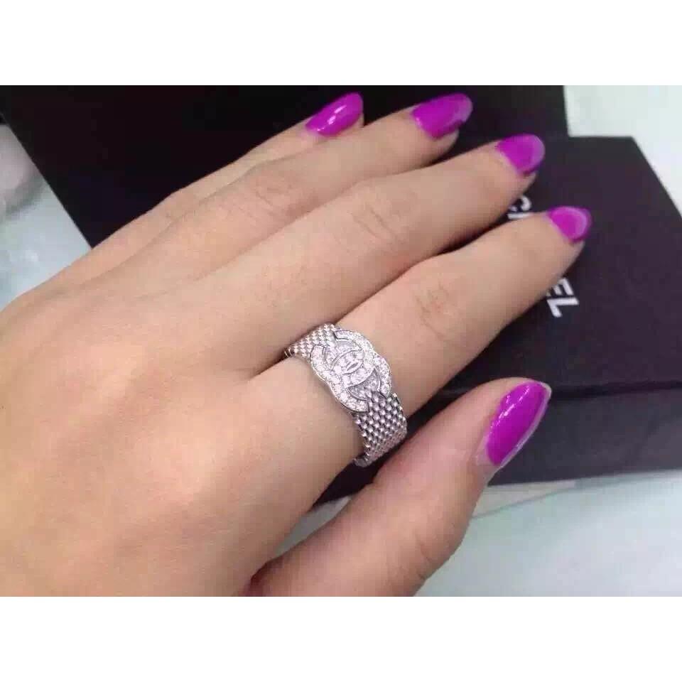 925 純銀戒指香奈兒Chanel 鑲鑽指環聖誕節情人節生日 飾品