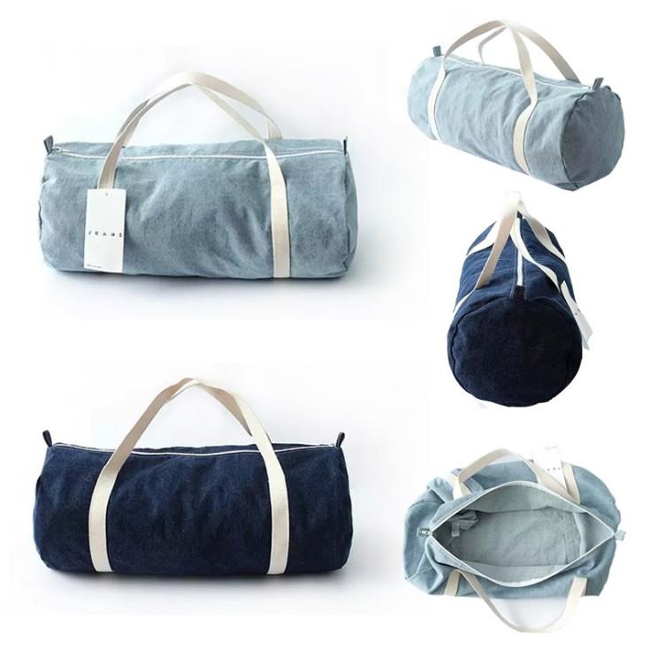 ~包郵~男女 大容量枕頭形拉鏈戶外旅行包健身 水桶包牛仔布包