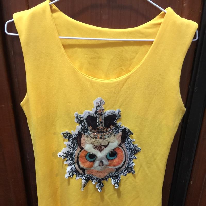 貓頭鷹無袖長版衣黃S