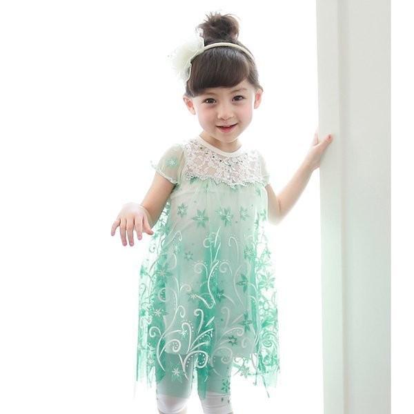 冰雪奇緣公主雪花洋裝公主裙兩色 唯美披風