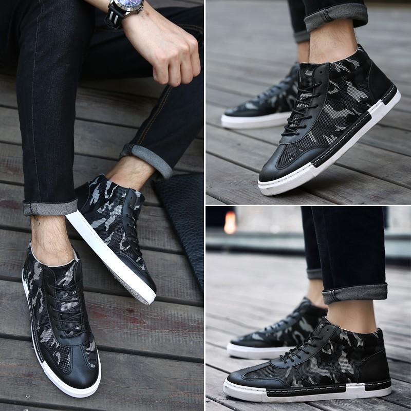 潮流指標正韓 英倫 高筒鞋男士馬丁靴迷彩男鞋子短靴子皮靴軍靴