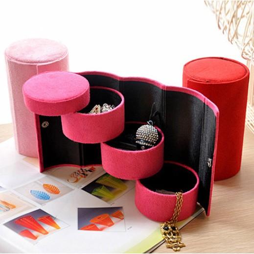 絨布圓筒三層收納首飾盒復古珠寶盒便攜飾品包裝盒129 元
