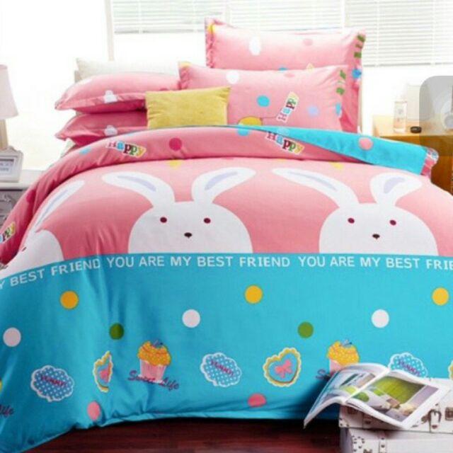 來成雙人床包組加大特大單人薄床包天絲絨舒柔棉涼被薄被套兩用被 床包粉紅兔兔兔兔大白兔