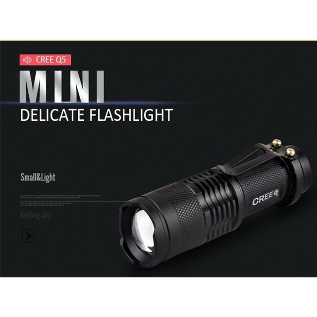 買10 送1 CREE Q5 LED 手電筒迷你小變焦強光手電筒最小UltraFire 神