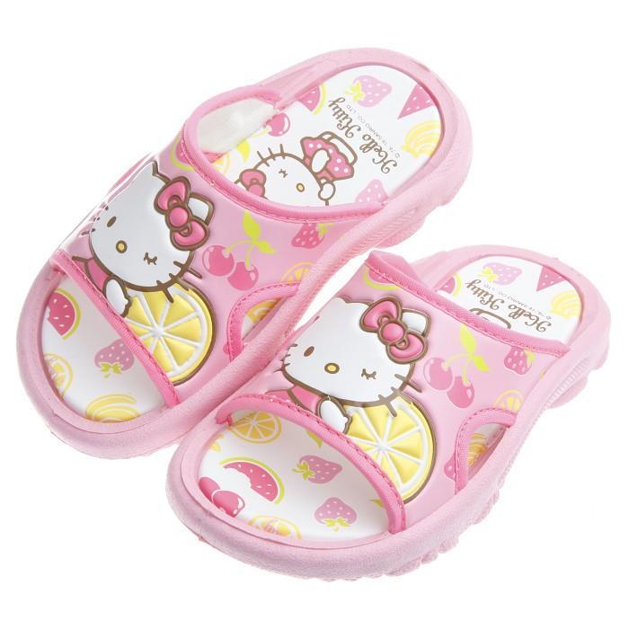 童鞋HelloKitty 凱蒂貓粉色夏日水果系列兒童拖鞋16 18 公分CJS816G