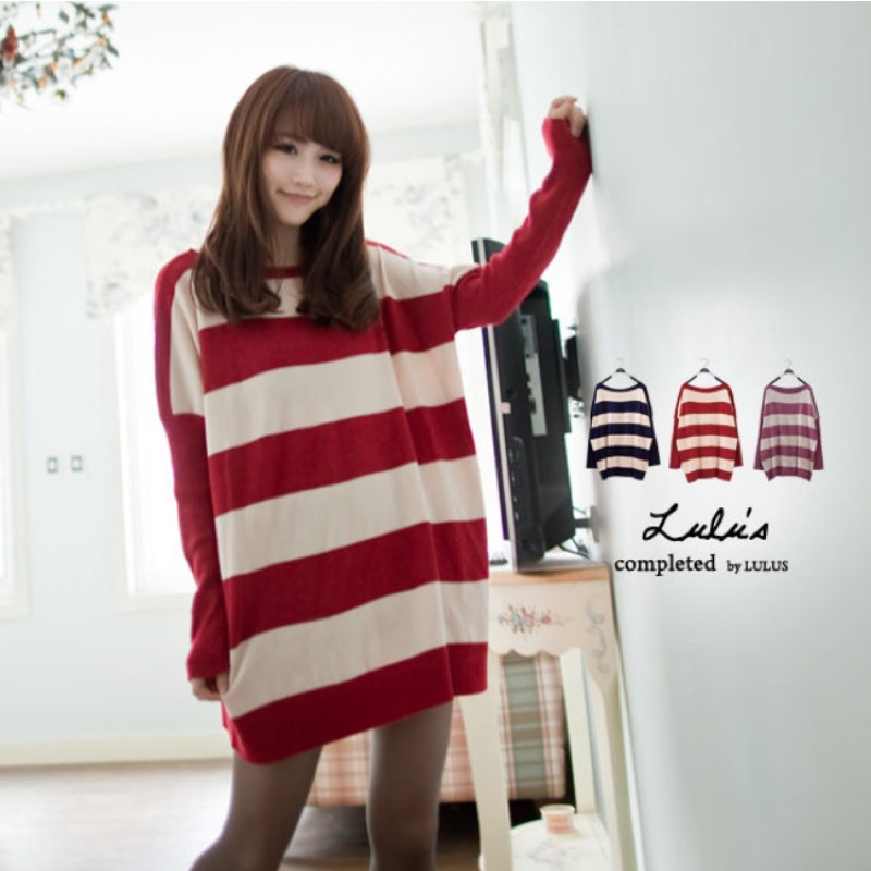 酒紅條紋針織衫洋裝超級顯瘦款