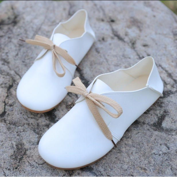 森系圓頭小白鞋平底兩穿娃娃鞋休閒艺文範學生鞋女單鞋潮
