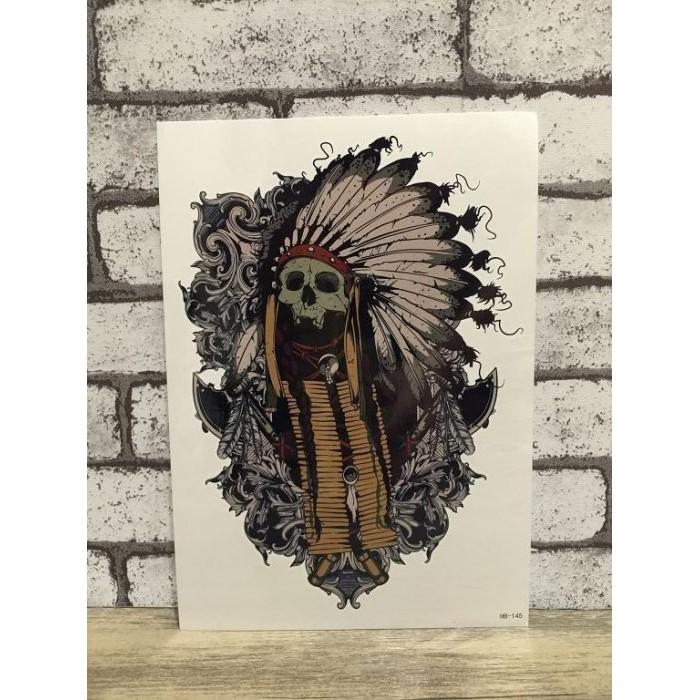 印第安骷髏酋長手臂大圖~LA ❇TATTOO ~防水紋身貼紙刺青貼紙