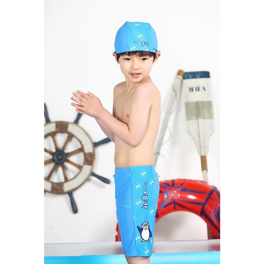 ~ ~ 冰沙 兒童平角褲泳衣游泳褲可愛卡通企鵝男童五分泳褲泳衣泳裝泳褲帽子兒童泳褲溫泉夏令
