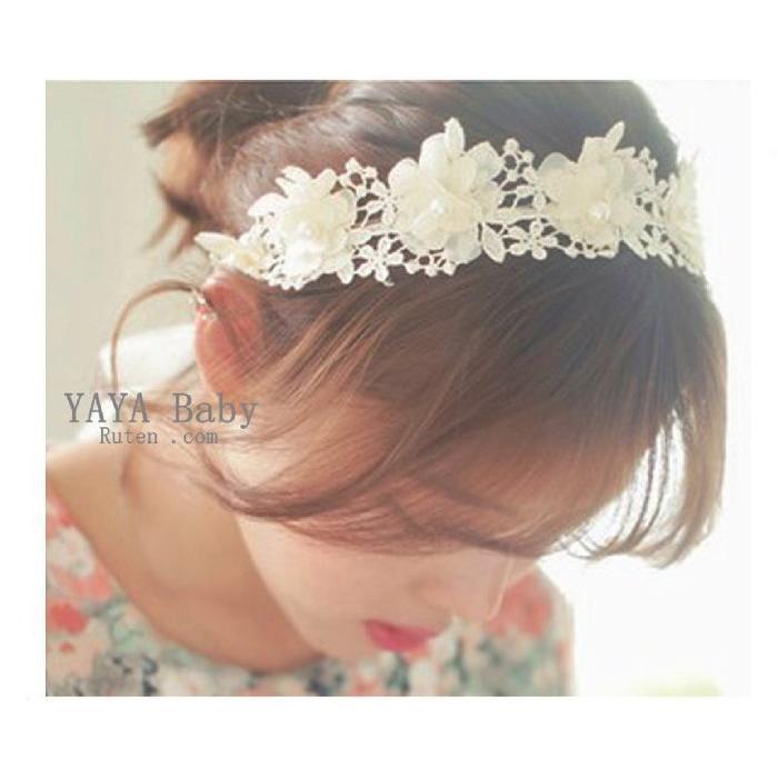 Yaya baby 髮飾唯美布藝花朵髮箍髮帶花童新娘伴娘髮帶頭飾(1 個)