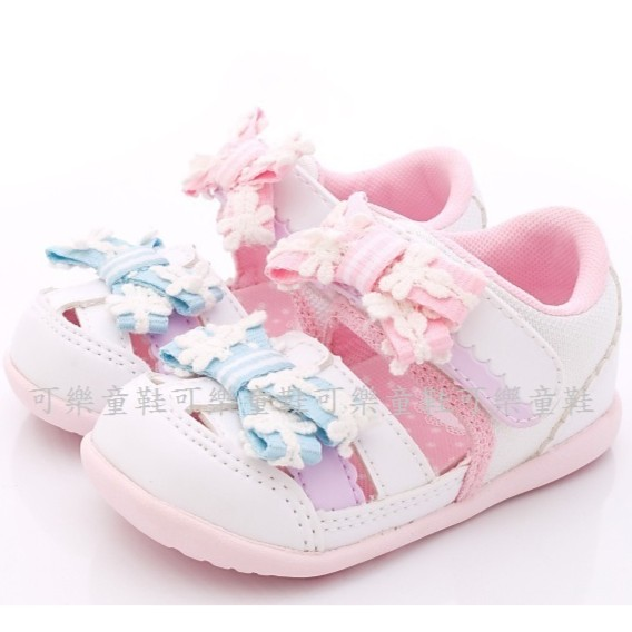 Moonstar Carrot 機能童鞋緞帶花朵涼鞋款粉寶寶段12 5 14 5 號