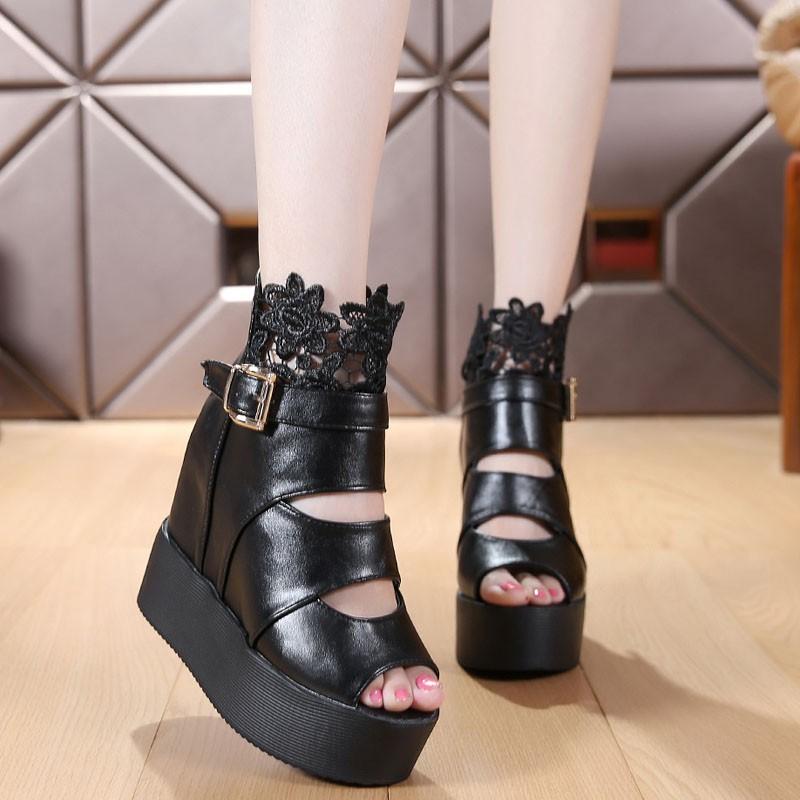 蕾絲花邊皮帶扣坡跟魚嘴內增高防水臺松糕女涼鞋靴~厚底涼鞋~拖鞋~涼鞋~羅馬涼鞋~尖頭涼鞋~