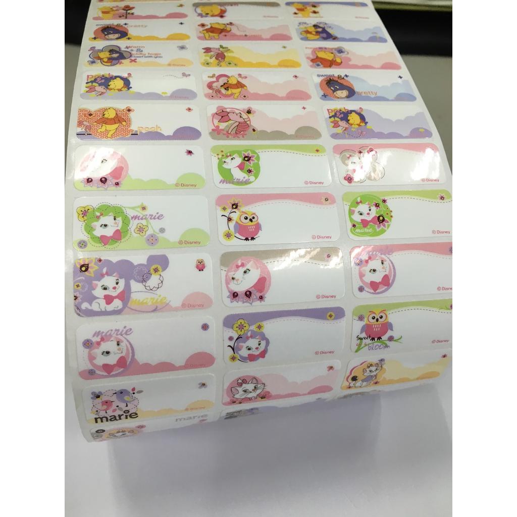 瑪莉貓小熊維尼米老鼠綜合版姓名貼紙大