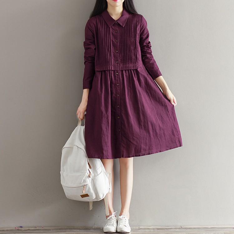 Leisure 日系▪▫秋裝 復古文藝森系單排扣風琴褶 寬鬆棉麻長袖連衣裙