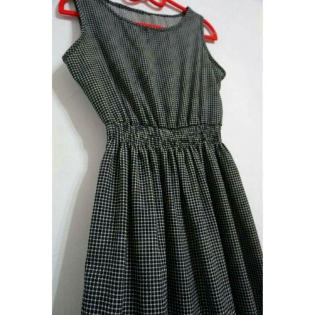 小格子縮腰無袖長洋裝長裙