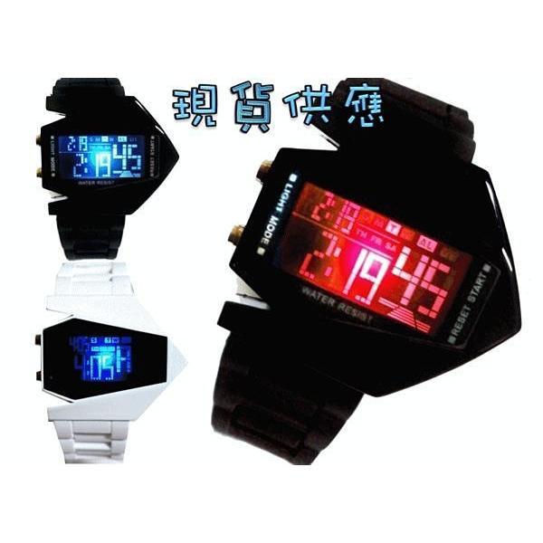 ~灰熊Q ~~A59 ~美國隱形飛機手錶橡膠 手錶LED 錶多 電子錶夜鷹戰鬥機手錶