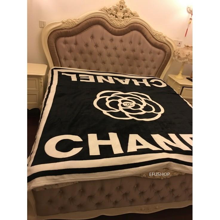香奈兒山茶花法蘭絨水貂絨毯沙發毯空調毯毛毯珊瑚絨毯