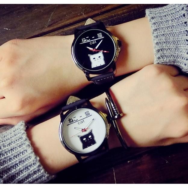 日韓妖怪手錶大錶面貓咪卡通人物 中性手錶中性錶皮質錶帶~SB062420 ~
