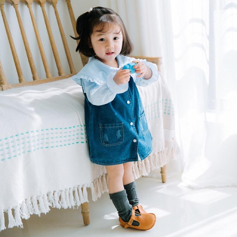 蓁誠 女童女寶兒童寶寶小童甜美口袋排扣刷破無袖v 領背心裙娃娃裙牛仔裙a 字裙