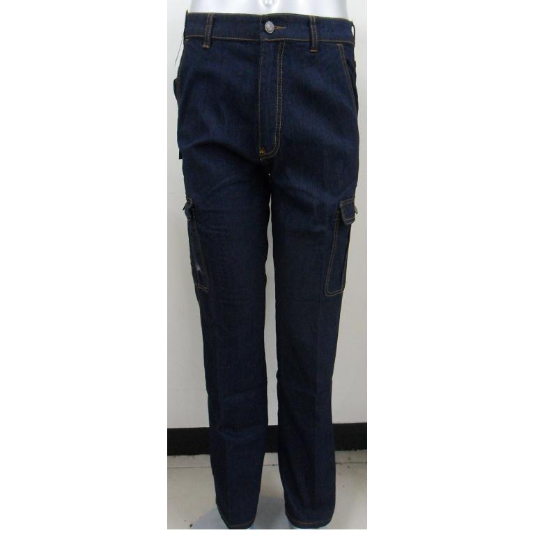 7188 深藍雙側袋伸縮中直筒工作褲牛仔褲長褲