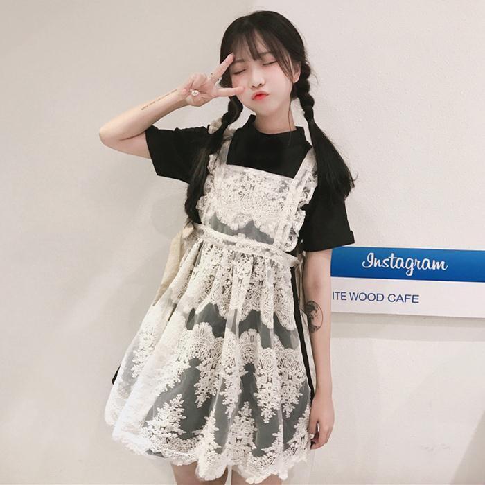 日系軟妹女仆重工刺繡蕾絲背帶裙短袖連衣裙兩件套學生女潮