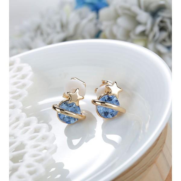 A032_  ~太空小行星~夾式耳環~藍~