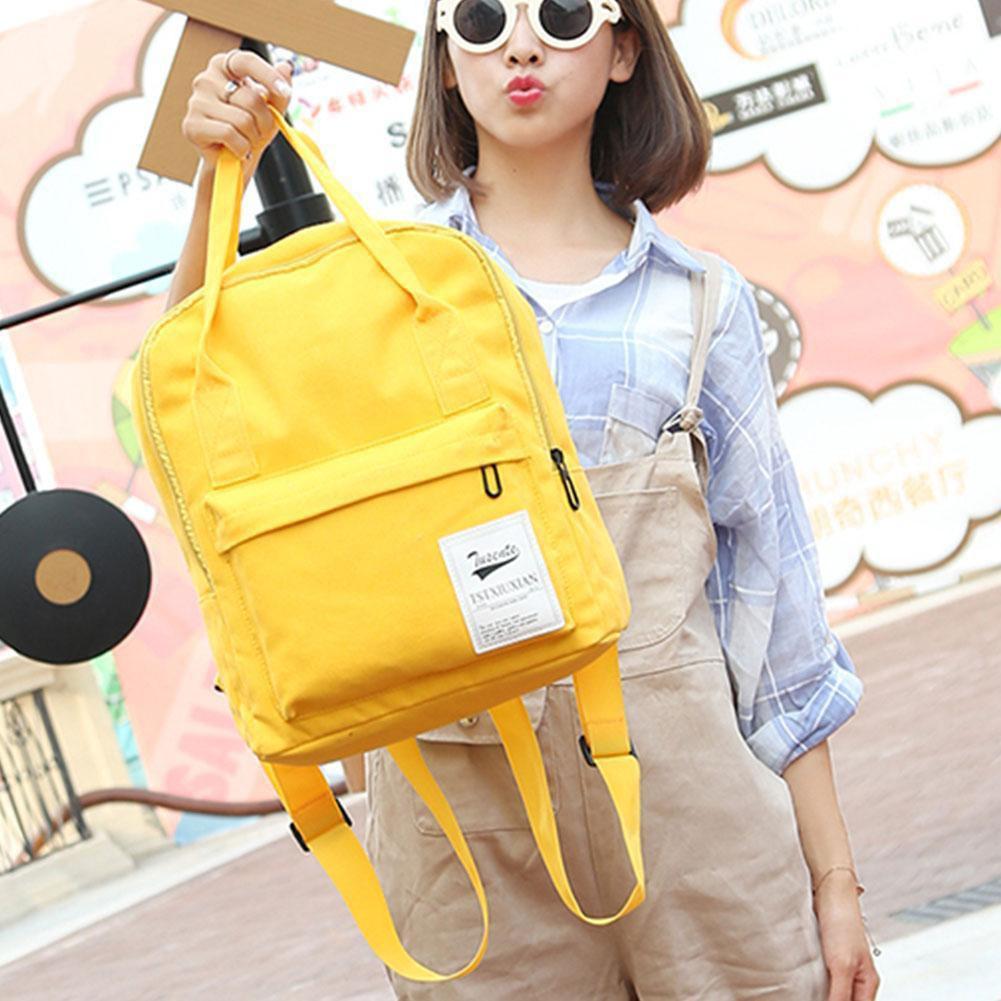 韓國休閒戶外學生耐重背包後背手提兩用學院風可愛清新純色多色雙肩包單肩包書包