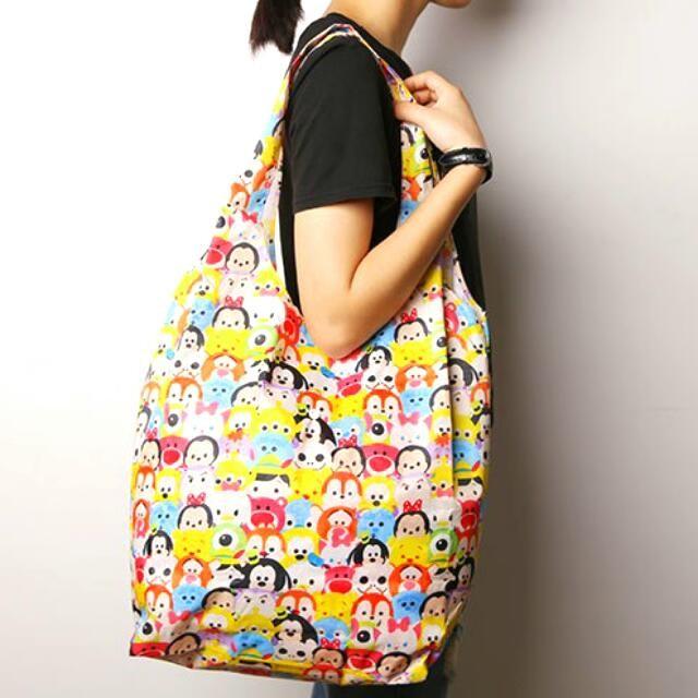 迪士尼卡通手提袋 袋收納袋米奇米妮肩背包可折疊方便攜帶防水收納包