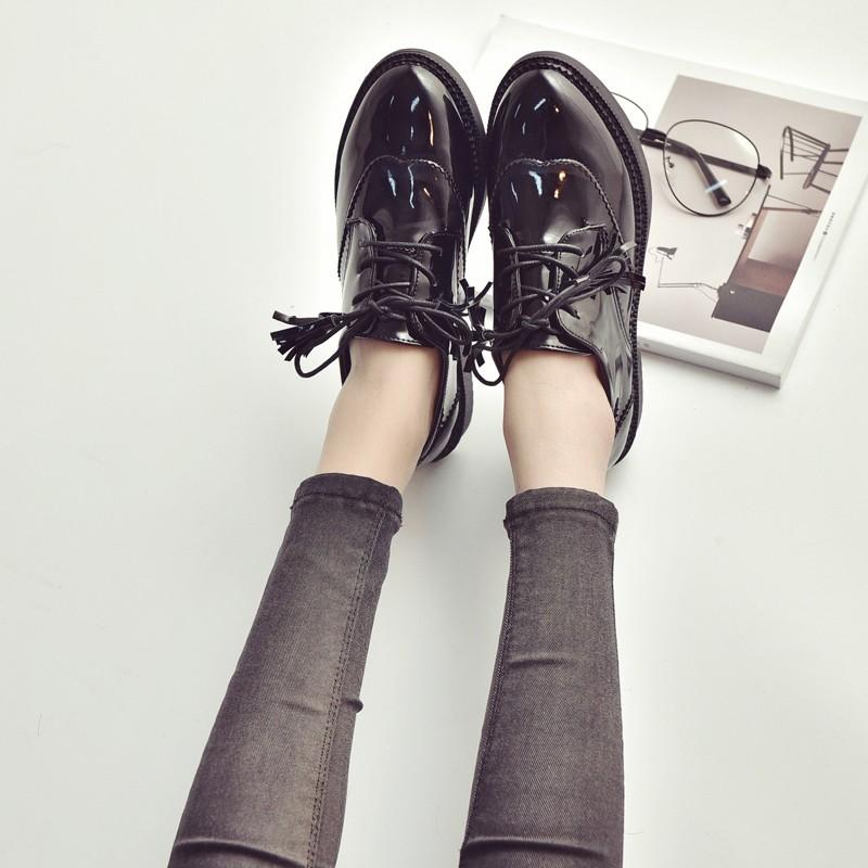 涼鞋春秋布洛克女鞋英倫風系帶復古小皮鞋學院粗跟牛津鞋平底單鞋