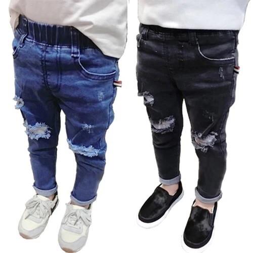 男童破洞牛仔褲1 2 3 5 歲6 寶寶小腳褲2017 春秋兒童薄款潮 刷破牛仔褲