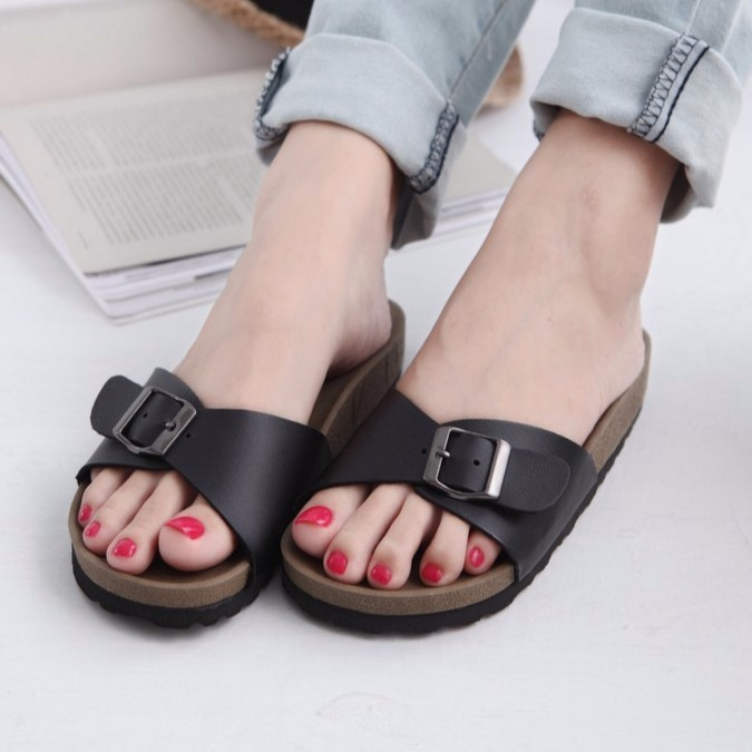 拖鞋簡約 休閒透氣防滑露趾一字涼鞋