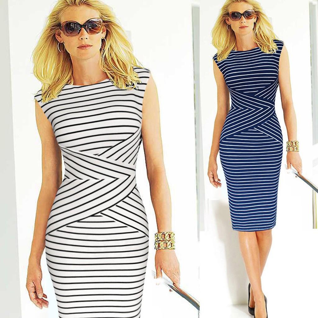 女性 性感藍白色包臀休閒S XXL 長裙直筒連衣裙